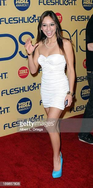 Adult film actress Sara Luvv arrives for the 2013 XBIZ Awards held at the Hyatt Regency Century Plaza on January 11 2013 in Century City California