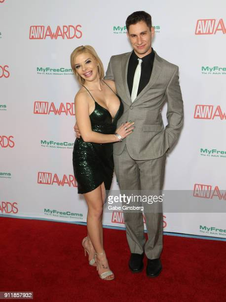 Adult film actress Sara St Clair and Brad Knight attend the 2018 Adult Video News Awards at the Hard Rock Hotel Casino on January 27 2018 in Las...