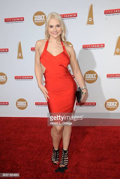 Adult film actress Sarah Vandella arrives for the 2016 XBIZ Awards held at JW Marriott Los Angeles at LA LIVE on January 15 2016 in Los Angeles...