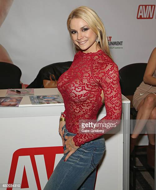 Adult film actress Sarah Vandella attends the 2017 AVN Adult Entertainment Expo at the Hard Rock Hotel Casino on January 18 2017 in Las Vegas Nevada