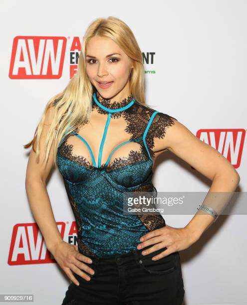 Adult film actress Sarah Vandella poses at the AVN booth during the 2018 AVN Adult Expo at the Hard Rock Hotel Casino on January 24 2018 in Las Vegas...