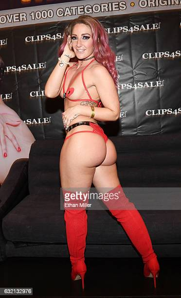 Adult film actress Savannah Fox appears at the Clips4Salecom booth at the 2017 AVN Adult Entertainment Expo at the Hard Rock Hotel Casino on January...
