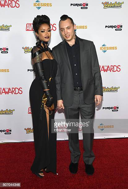 Adult film actress Skin Diamond and Benji attend the 2016 Adult Video News Awards at the Hard Rock Hotel Casino on January 23 2016 in Las Vegas Nevada