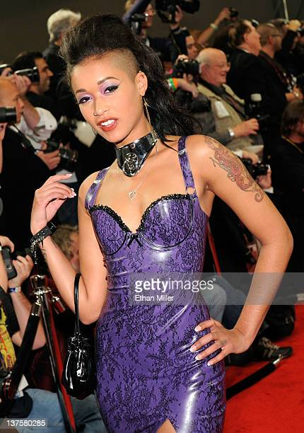 Adult film actress Skin Diamond arrives at the 29th annual Adult Video News Awards Show at the Hard Rock Hotel Casino January 21 2012 in Las Vegas...