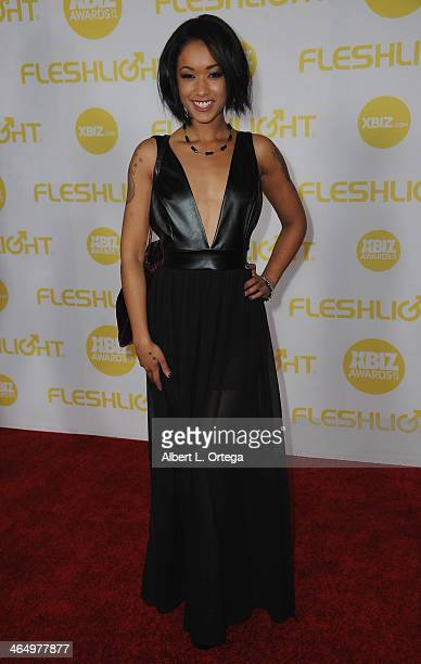 Adult film actress Skin Diamond arrives for the 2014 XBIZ Awards held at The Hyatt Regency Century Plaza Hotel on January 24 2014 in Century City...