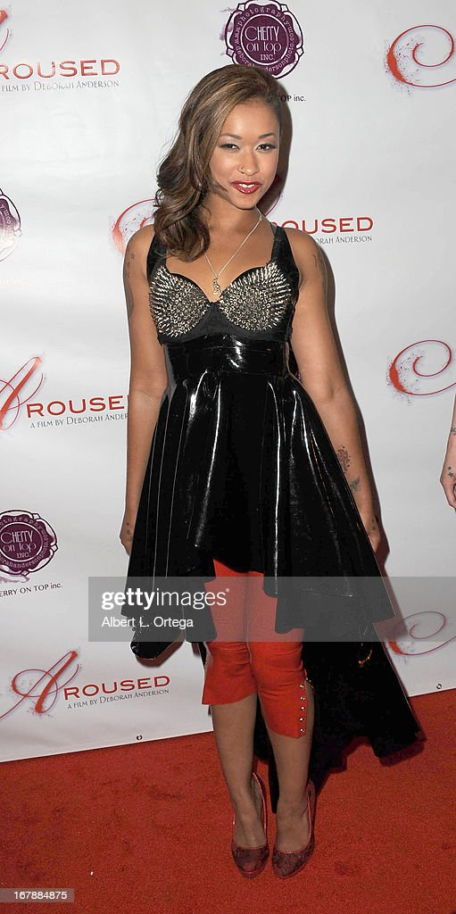 Adult film actress Skin Diamond arrives for the Premiere Of 'Aroused' held at Landmark Nuart Theatre on May 1, 2013 in Los Angeles, California.