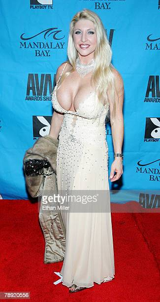 Adult film actress Skye Blue arrives at the 25th annual Adult Video News Awards Show at the Mandalay Bay Events Center January 12 2008 in Las Vegas...