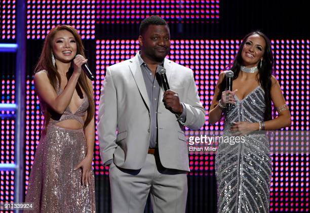 Adult film actress Sofi Ryan actor/comedian and cohost Aries Spears and adult film actress Ayumi Anime speak during the 2018 Adult Video News Awards...