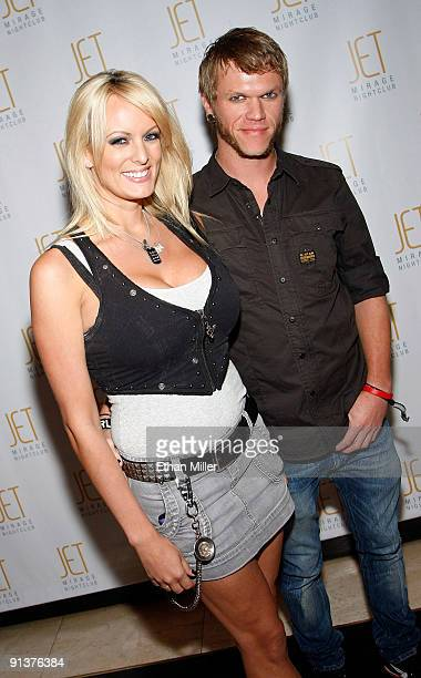 Adult film actress Stormy Daniels and a Brendon Miller arrive at an after party at the Jet Nightclub at The Mirage Hotel Casino to celebrate the...