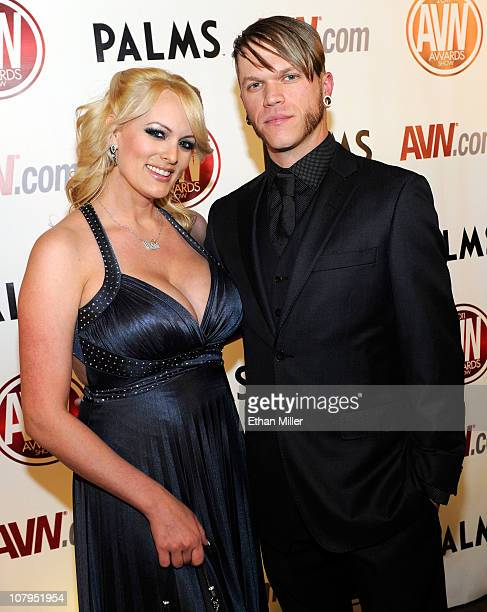 Adult film actress Stormy Daniels and adult film actor Brendon Miller arrive at the 28th annual Adult Video News Awards Show at the Palms Casino...