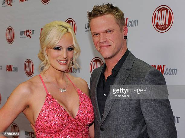 Adult film actress Stormy Daniels and her husband adult film actor Brendon Miller arrive at the 29th annual Adult Video News Awards Show at the Hard...