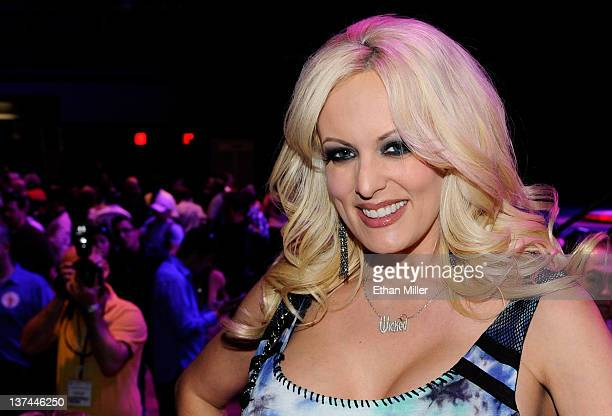 Adult film actress Stormy Daniels appears during an autograph signing for Wicked Pictures at the 2012 AVN Adult Entertainment Expo at The Joint...