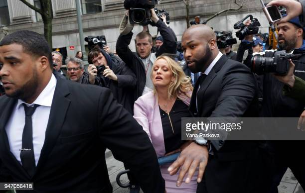 Adult film actress Stormy Daniels arrives at the United States District Court Southern District of New York for a hearing related to Michael Cohen...