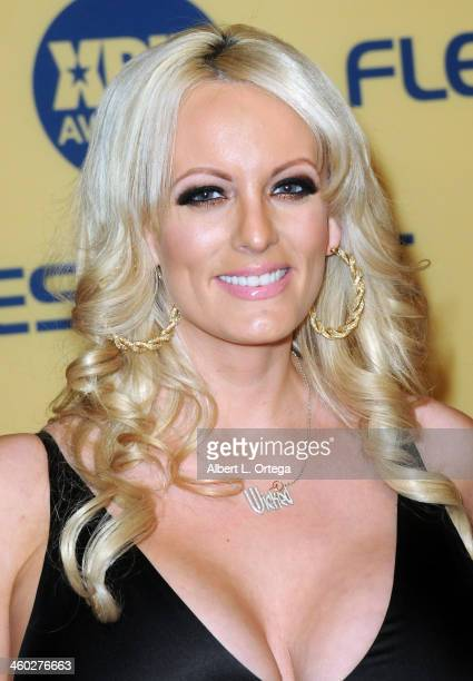 Adult film actress Stormy Daniels arrives for the 2013 XBIZ Awards held at the Hyatt Regency Century Plaza on January 11 2013 in Century City...