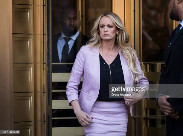 Adult film actress Stormy Daniels exits the United States District Court Southern District of New York for a hearing related to Michael Cohen...
