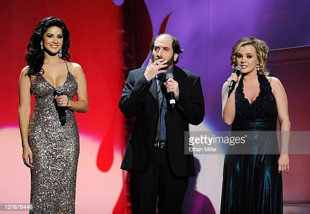 Adult film actress Sunny Leone comedian Dave Attell and adult film actress Bree Olson host the 29th annual Adult Video News Awards Show at The Joint...
