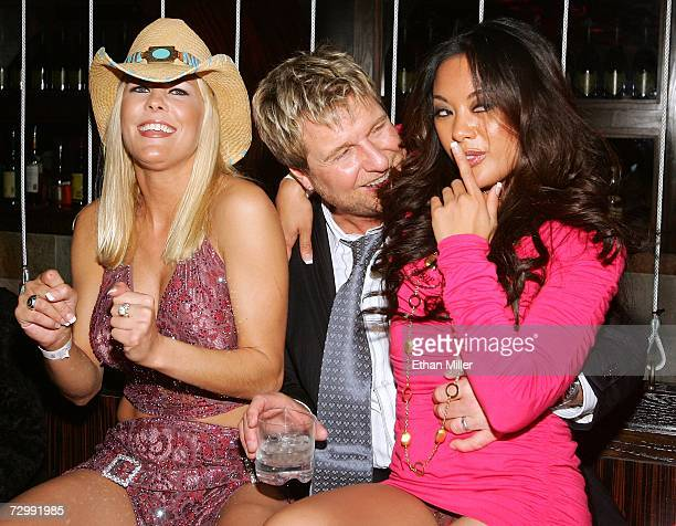 Adult film actress Sunset Thomas Strip Las Vegas magazine publisher and EditorinChief Scott Santos and adult film actress Kaylani Lei attend the...