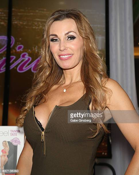 Adult film actress Tanya Tate appears at the Fleshlight booth during the 2017 AVN Adult Entertainment Expo at the Hard Rock Hotel Casino on January...