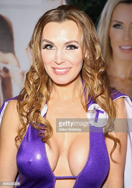 Adult film actress Tanya Tate dressed as Lady Titan attends the 2016 AVN Adult Entertainment Expo at the Hard Rock Hotel Casino on January 22 2016 in...