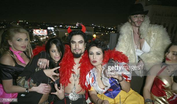 Adult film actress Taylor Wayne Rocker Dave Navarro Storm Large and Kendra Jade attend Dave Navarro's Halloween Lingerie And Costume Ball at The...