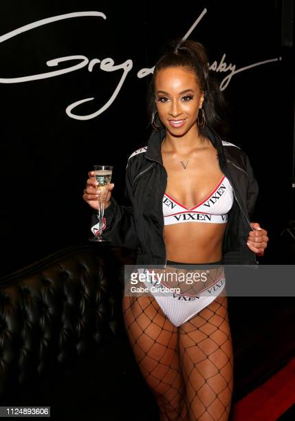 Adult film actress Teanna Trump poses in Lansky's Blacked Tushy and Vixen adult studios booth at the 2019 AVN Adult Entertainment Expo at the Hard...