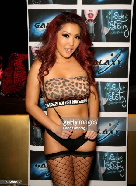 Adult film actress Tia Kai poses in the Galaxy Publicity booth during the 2020 AVN Adult Expo at The Joint inside the Hard Rock Hotel Casino on...