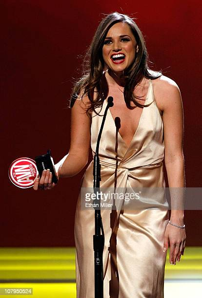 Adult film actress Tori Black accepts an award at the 28th annual Adult Video News Awards Show at The Pearl concert theater at the Palms Casino...