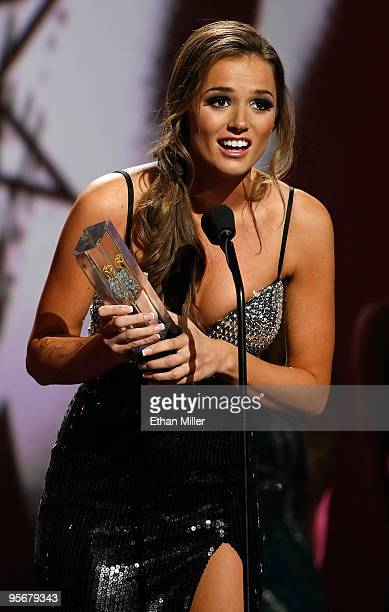 Adult film actress Tori Black accepts an award during the 27th annual Adult Video News Awards Show at The Pearl concert theater at the Palms Casino...