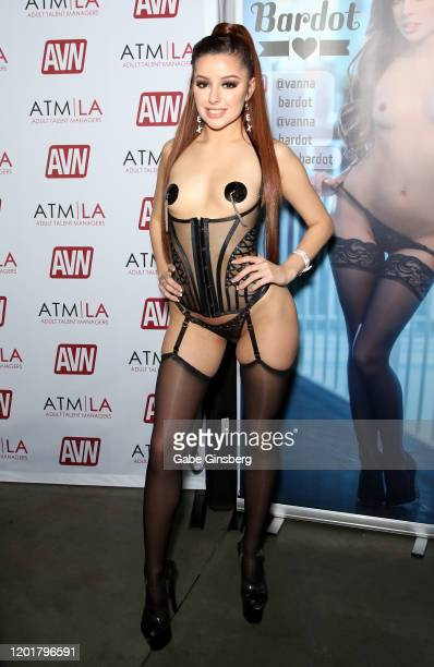 Adult film actress Vanna Bardot poses at the Adult Talent Managers booth during the 2020 AVN Adult Expo at The Joint inside the Hard Rock Hotel...