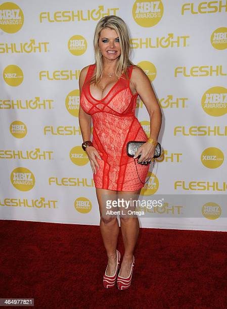 Adult film actress Vicky Vette arrives for the 2014 XBIZ Awards held at The Hyatt Regency Century Plaza Hotel on January 24 2014 in Century City...
