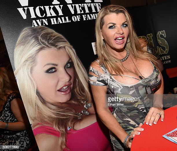 Adult film actress Vicky Vette attends the 2016 AVN Adult Entertainment Expo at the Hard Rock Hotel Casino on January 21 2016 in Las Vegas Nevada