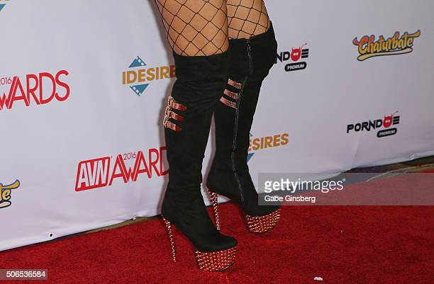 Adult film actress Vicky Vette shoes detail attends the 2016 Adult Video News Awards at the Hard Rock Hotel Casino on January 23 2016 in Las Vegas...