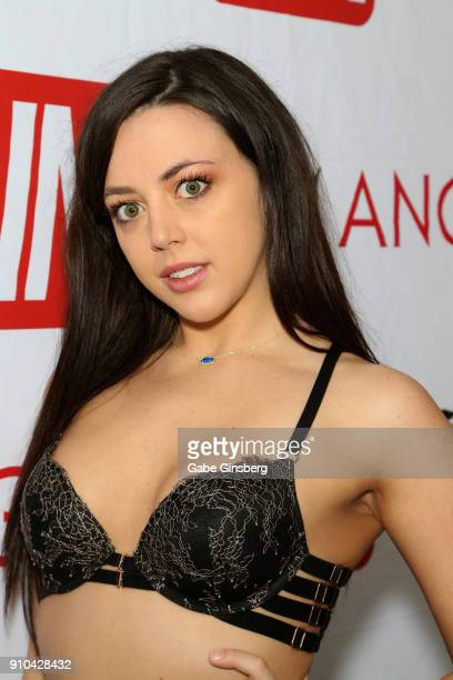 Adult film actress Whitney Wright poses in the AVN press room during the 2018 AVN Adult Expo at the Hard Rock Hotel Casino on January 25 2018 in Las...