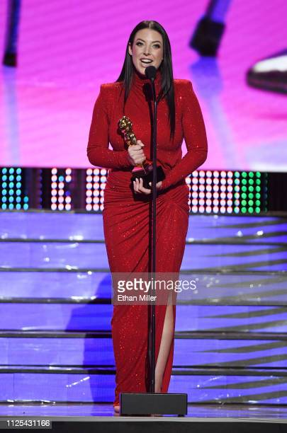Adult film actress/director Angela White accepts the award for Female Performer of the Year during the 2019 Adult Video News Awards at The Joint...