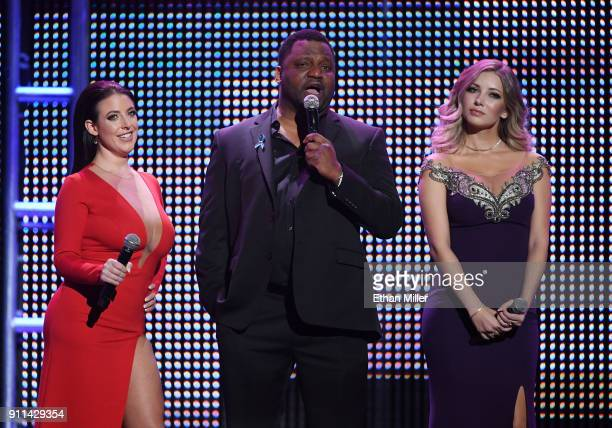 Adult film actress/director Angela White actor/comedian Aries Spears and webcam model Harli Lotts cohost the 2018 Adult Video News Awards at The...