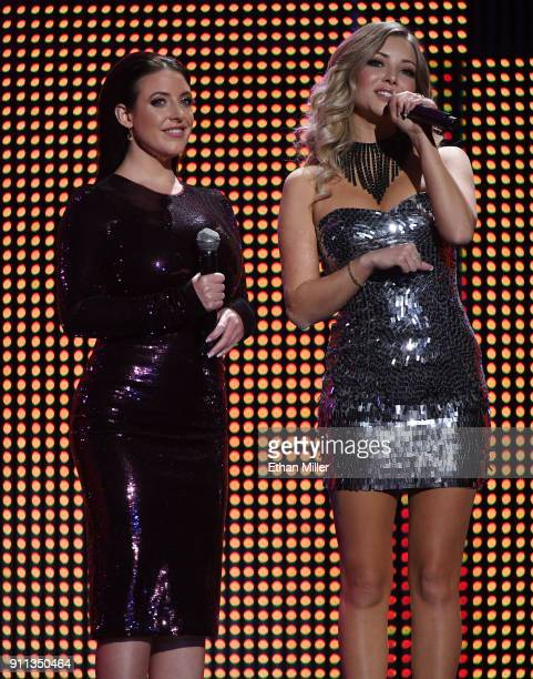 Adult film actress/director Angela White and webcam model Harli Lotts cohost the 2018 Adult Video News Awards at The Joint inside the Hard Rock Hotel...