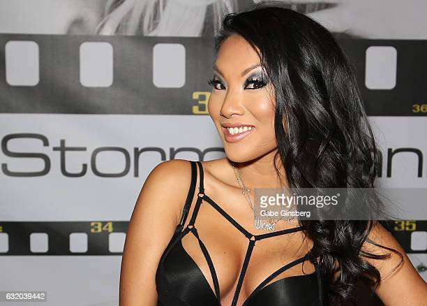 Adult film actress/director Asa Akira appears at the Wicked Pictures booth during the 2017 AVN Adult Entertainment Expo at the Hard Rock Hotel Casino...