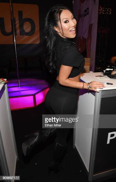 Adult film actress/director Asa Akira poses at the Pornhub booth at the 2018 AVN Adult Entertainment Expo at the Hard Rock Hotel & Casino on January...