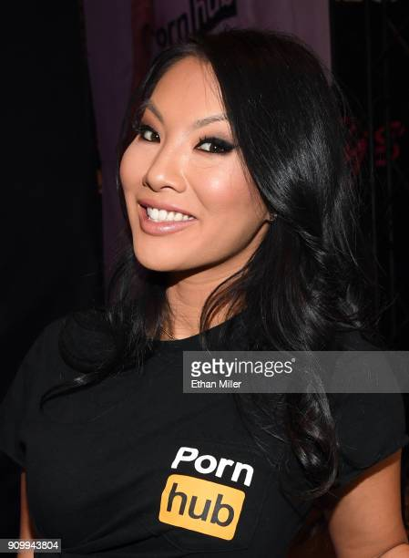 Adult film actress/director Asa Akira poses at the Pornhub booth at the 2018 AVN Adult Entertainment Expo at the Hard Rock Hotel Casino on January 24...