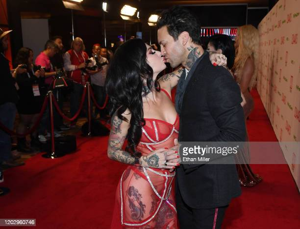 Adult film actress/director Joanna Angel and her husband adult film actor Small Hands attend the 2020 Adult Video News Awards at The Joint inside the...