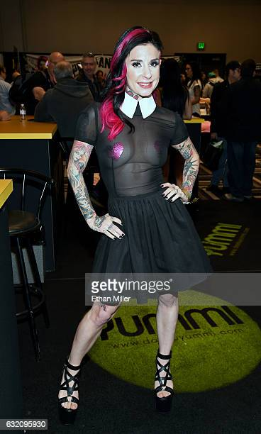 Adult film actress/director Joanna Angel appears at the Yummi booth at the 2017 AVN Adult Entertainment Expo at the Hard Rock Hotel Casino on January...