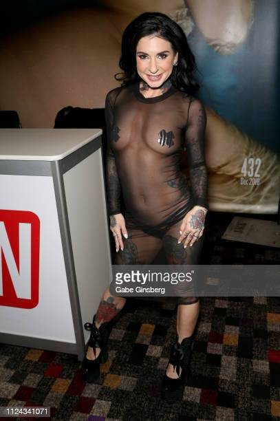 Adult film actress/director Joanna Angel poses at the 2019 AVN Adult Entertainment Expo at the Hard Rock Hotel Casino on January 23 2019 in Las Vegas...