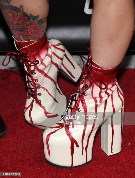 Adult film actress/director Joanna Angel shoes detail attends the world premiere of the film LadyKillerTV at the Brenden Theatres inside Palms Casino...