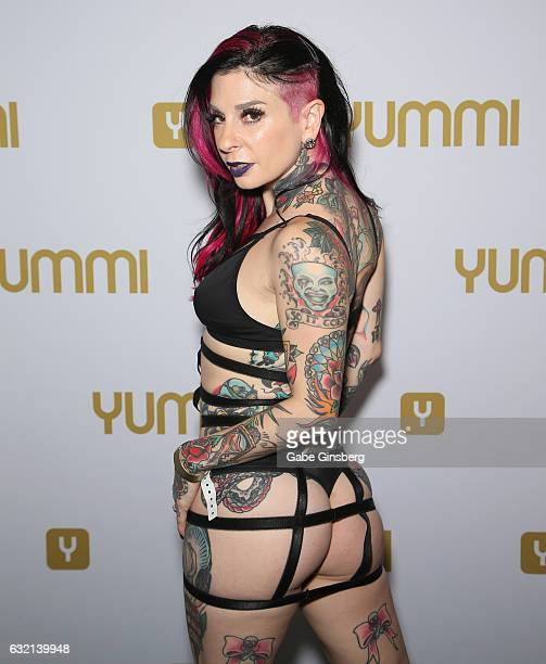 Adult film actress/director Joanna Angel tattoos detail appears at the Yummi booth during the 2017 AVN Adult Entertainment Expo at the Hard Rock...