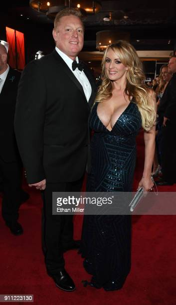 Adult film actress/director Stormy Daniels and a guest attend the 2018 Adult Video News Awards at the Hard Rock Hotel Casino on January 27 2018 in...