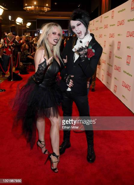 Adult film actress/director Stormy Daniels and musician Boneghazi of the band Deadsled Funeral Co. Attend the 2020 Adult Video News Awards at The...
