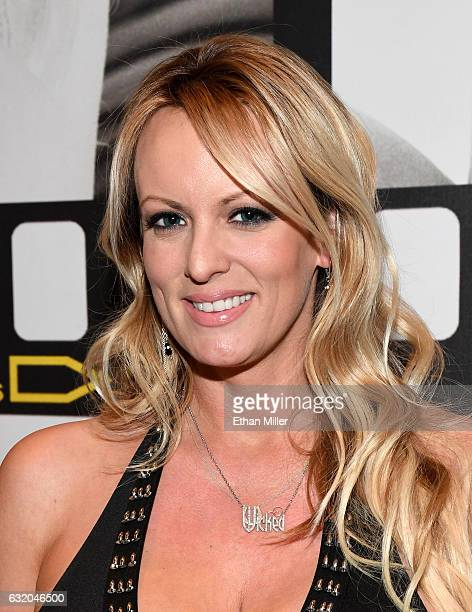 Adult film actress/director Stormy Daniels appears at the Wicked Pictures booth at the 2017 AVN Adult Entertainment Expo at the Hard Rock Hotel...