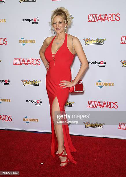 Adult film actress/director Stormy Daniels attends the 2016 Adult Video News Awards at the Hard Rock Hotel Casino on January 23 2016 in Las Vegas...