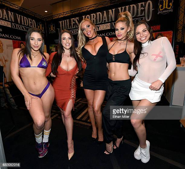 Adult film actresses Abella Danger, Angela White, Samantha Saint, Jessa Rhodes and Aidra Fox appear at the Jules Jordan Video booth at the 2017 AVN...