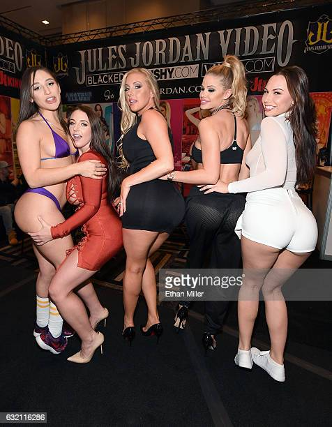 Adult film actresses Abella Danger Angela White Samantha Saint Jessa Rhodes and Aidra Fox appear at the Jules Jordan Video booth at the 2017 AVN...
